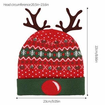 ZOYLINK LED Weihnachten Strickmütze Beanie Hat dekorative Geweih Strickmütze Wintermütze warme Mütze - 9