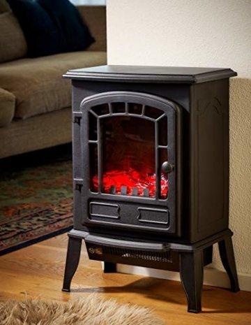 Deuba Elektro Kamin Elektrischer mit Heizung LED Kaminfeuer Effekt 2000W schwarz Flammeneffekt Heizer Ofen schwarz - 3