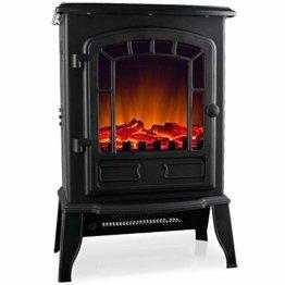 Deuba Elektro Kamin Elektrischer mit Heizung LED Kaminfeuer Effekt 2000W schwarz Flammeneffekt Heizer Ofen schwarz - 1