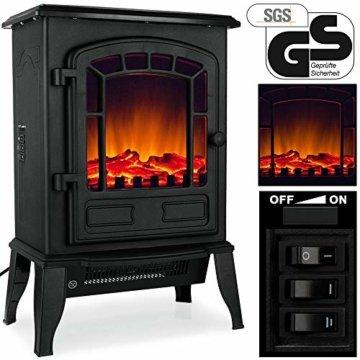 Deuba Elektro Kamin Elektrischer mit Heizung LED Kaminfeuer Effekt 2000W schwarz Flammeneffekt Heizer Ofen schwarz - 6
