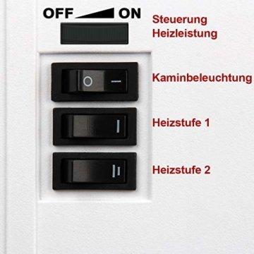 Deuba Elektro Kamin Elektrischer mit Heizung LED Kaminfeuer Effekt 2000W weiß Flammeneffekt Heizer Ofen weiß - 3