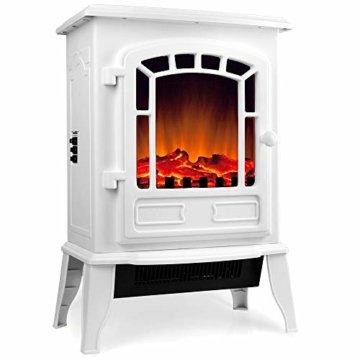 Deuba Elektro Kamin Elektrischer mit Heizung LED Kaminfeuer Effekt 2000W weiß Flammeneffekt Heizer Ofen weiß - 1