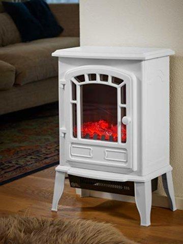 Deuba Elektro Kamin Elektrischer mit Heizung LED Kaminfeuer Effekt 2000W weiß Flammeneffekt Heizer Ofen weiß - 5