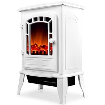 Deuba Elektro Kamin Elektrischer mit Heizung LED Kaminfeuer Effekt 2000W weiß Flammeneffekt Heizer Ofen weiß - 6