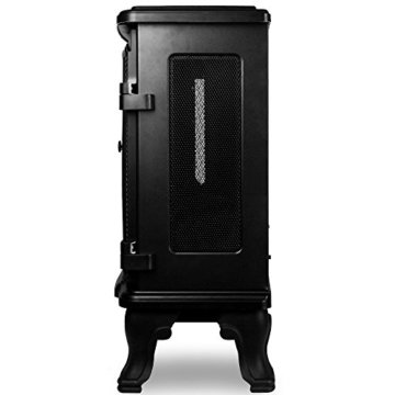Deuba Elektrokamin Elektrischer Kamin mit Heizung Doppeltür LED Kaminfeuer Effekt Fernbedienung 2000 W E - Kamin schwarz - 9