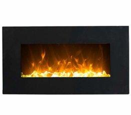 GLOW FIRE Neptun Elektrokamin mit Heizung, Wandkamin mit LED | Künstliches Feuer mit zuschaltbarem Heizlüfter: 750/1500 W | Fernbedienung, 84 cm, Schwarz, Kristalldekoration - 1