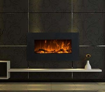 GLOW FIRE Neptun Elektrokamin mit Heizung, Wandkamin mit LED | Künstliches Feuer mit zuschaltbarem Heizlüfter: 750/1500 W | Fernbedienung, 84 cm, Schwarz, Kristalldekoration - 4