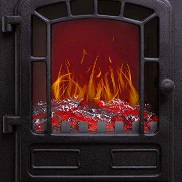 KESSER® Elektrokamin mit Heizlüfter 2000W Elektro Kamin Elektrischer Heizung LED Kaminfeuer Effekt Kaminofen Flammeneffekt Heizer Ofen geräuscharm regelbar Schwarz - 6