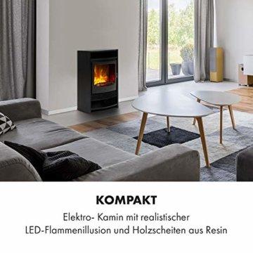 Klarstein Bergamo Elektrischer Kamin, 2 Heizstufen: 900/1800 W, Thermostat, dimmbare, realistische Flammenillusion: unabhängiger LED-Flammeneffekt mit Resin-Holzscheiten, Holzoptik, schwarz - 2