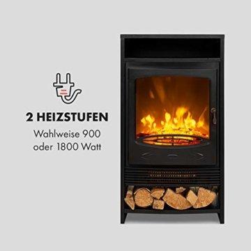 Klarstein Bergamo Elektrischer Kamin, 2 Heizstufen: 900/1800 W, Thermostat, dimmbare, realistische Flammenillusion: unabhängiger LED-Flammeneffekt mit Resin-Holzscheiten, Holzoptik, schwarz - 3