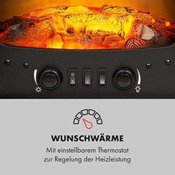 Klarstein Bergamo Elektrischer Kamin, 2 Heizstufen: 900/1800 W, Thermostat, dimmbare, realistische Flammenillusion: unabhängiger LED-Flammeneffekt mit Resin-Holzscheiten, Holzoptik, schwarz - 6