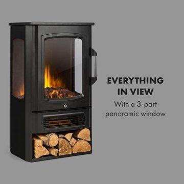 Klarstein Bormio Panorama - Elektrischer Kamin, 1000/2000W, 3-teiliges Panorama-Sichtfenster, Thermostat, zuschaltbare Heizung, integrierter Überhitzungsschutz, Stauraum für Holzscheite, schwarz - 7