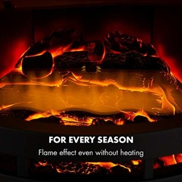 Klarstein Brixen Elektrischer Kamin mit Flammeneffekt - Elektrokamin, E-Kamin, 900/1800 Watt, stufenloses Thermostat, LED Backlight, Überhitzungsschutz, 3D-Flame-Effekt, InstaFire, schwarz - 4