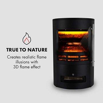 Klarstein Brixen Elektrischer Kamin mit Flammeneffekt - Elektrokamin, E-Kamin, 900/1800 Watt, stufenloses Thermostat, LED Backlight, Überhitzungsschutz, 3D-Flame-Effekt, InstaFire, schwarz - 6