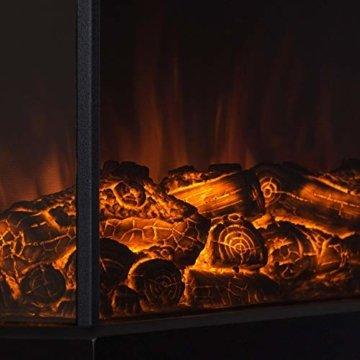 Klarstein Castillo, elektrischer Kamin, Kaminofen, Flammensimulation, 1000W/2000W, Halogen-Beleuchtung, Überhitzungsschutz, Metallgehäuse, Glasfront, schwarz - 6