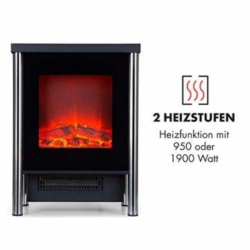 Klarstein Copenhagen - Elektrischer Kamin, Elektrokamin, 2 Heizstufen: 950 oder 1900 Watt, Flammenillusion auch ohne Heizen, Glasfront, Thermostat, Überhitzungsschutz, schwarz - 3