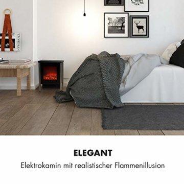 Klarstein Copenhagen - Elektrischer Kamin, Elektrokamin, 2 Heizstufen: 950 oder 1900 Watt, Flammenillusion auch ohne Heizen, Glasfront, Thermostat, Überhitzungsschutz, schwarz - 6