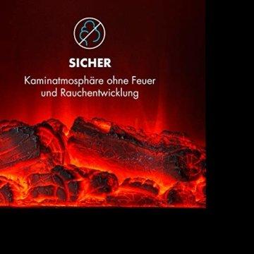 Klarstein Copenhagen - Elektrischer Kamin, Elektrokamin, 2 Heizstufen: 950 oder 1900 Watt, Flammenillusion auch ohne Heizen, Glasfront, Thermostat, Überhitzungsschutz, schwarz - 8