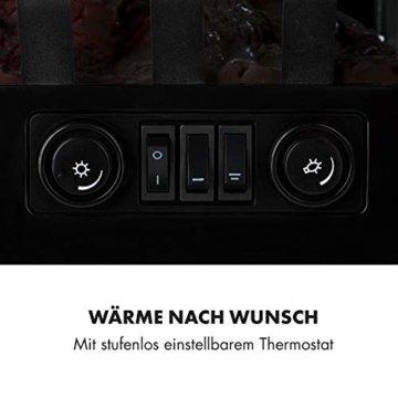 Klarstein Graz Elektrischer Kamin mit Flammeneffekt - Elektrokamin, E-Kamin, 1000/2000 Watt, bis zu 30 m², Thermostat, Heizfunktion, stufenlos dimm- und heizbar, PanoramaView, schwarz - 3