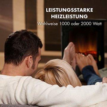 Klarstein Graz Elektrischer Kamin mit Flammeneffekt - Elektrokamin, E-Kamin, 1000/2000 Watt, bis zu 30 m², Thermostat, Heizfunktion, stufenlos dimm- und heizbar, PanoramaView, schwarz - 4