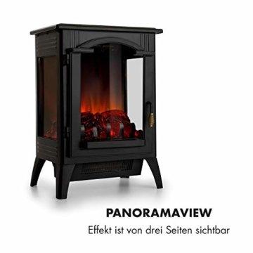 Klarstein Graz Elektrischer Kamin mit Flammeneffekt - Elektrokamin, E-Kamin, 1000/2000 Watt, bis zu 30 m², Thermostat, Heizfunktion, stufenlos dimm- und heizbar, PanoramaView, schwarz - 5