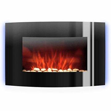 Klarstein Lausanne - elektrischer Kamin, E-Kamin, Kaminofen (Flammensimulation, LED, geräuscharm, 1000W oder 2000W Leistung, Dimm-Funktion, Fernbedienung, Wandmontage) horizontal, schwarz - 4