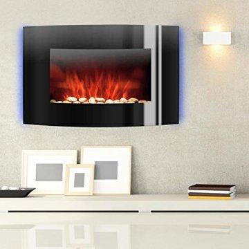 Klarstein Lausanne - elektrischer Kamin, E-Kamin, Kaminofen (Flammensimulation, LED, geräuscharm, 1000W oder 2000W Leistung, Dimm-Funktion, Fernbedienung, Wandmontage) horizontal, schwarz - 6