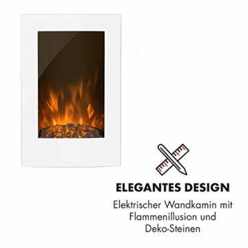 Klarstein Lausanne Elektro-Wandkamin (1000 oder 2000 W Leistung, elektrischer Heizlüfter, Flammenillusion, Flammen-Effekt, Dimmerfunktion, platzsparende Wandinstallation) Vertical, weiß - 2