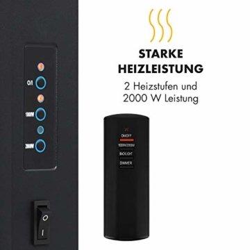 Klarstein Lausanne Elektro-Wandkamin (1000 oder 2000 W Leistung, elektrischer Heizlüfter, Flammenillusion, Flammen-Effekt, Dimmerfunktion, platzsparende Wandinstallation) Vertical, weiß - 3