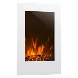 Klarstein Lausanne Elektro-Wandkamin (1000 oder 2000 W Leistung, elektrischer Heizlüfter, Flammenillusion, Flammen-Effekt, Dimmerfunktion, platzsparende Wandinstallation) Vertical, weiß - 1
