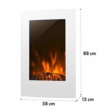 Klarstein Lausanne Elektro-Wandkamin (1000 oder 2000 W Leistung, elektrischer Heizlüfter, Flammenillusion, Flammen-Effekt, Dimmerfunktion, platzsparende Wandinstallation) Vertical, weiß - 6