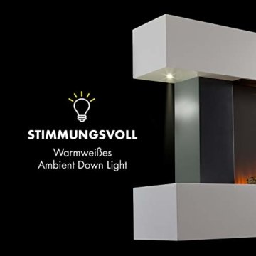 Klarstein Studio Light & Fire 2 Kamin - Elektrokamin, elektrischer Kamin mit Flammeneffekt, E-Kamin, 1000/2000 Watt, Timer-Funktion, Thermostat, MDF-Gehäuse, inkl. Fernbedienung, weiß - 5