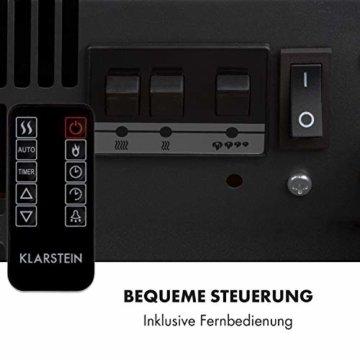 Klarstein Studio Light & Fire 2 Kamin - Elektrokamin, elektrischer Kamin mit Flammeneffekt, E-Kamin, 1000/2000 Watt, Timer-Funktion, Thermostat, MDF-Gehäuse, inkl. Fernbedienung, weiß - 6