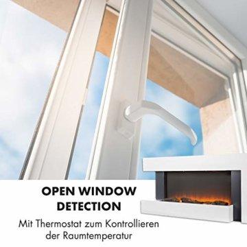 Klarstein Studio Light & Fire 2 Kamin - Elektrokamin, elektrischer Kamin mit Flammeneffekt, E-Kamin, 1000/2000 Watt, Timer-Funktion, Thermostat, MDF-Gehäuse, inkl. Fernbedienung, weiß - 7