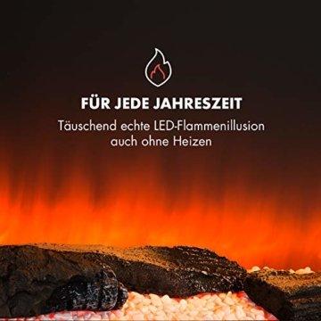Klarstein Studio Light & Fire 2 Kamin - Elektrokamin, elektrischer Kamin mit Flammeneffekt, E-Kamin, 1000/2000 Watt, Timer-Funktion, Thermostat, MDF-Gehäuse, inkl. Fernbedienung, weiß - 8