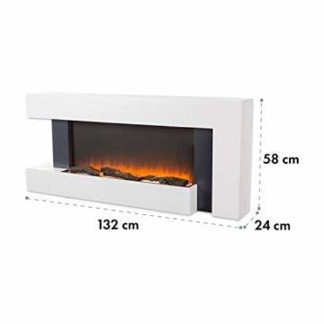 Klarstein Studio Light & Fire 2 Kamin - Elektrokamin, elektrischer Kamin mit Flammeneffekt, E-Kamin, 1000/2000 Watt, Timer-Funktion, Thermostat, MDF-Gehäuse, inkl. Fernbedienung, weiß - 9