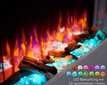 RICHEN Elektrokamin Alva - Elektrischer Wandkamin Mit Heizung, LED-Beleuchtung, 3D-Flammeneffekt & Fernbedienung - Weiß - 3