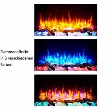 RICHEN Elektrokamin Alva - Elektrischer Wandkamin Mit Heizung, LED-Beleuchtung, 3D-Flammeneffekt & Fernbedienung - Weiß - 5