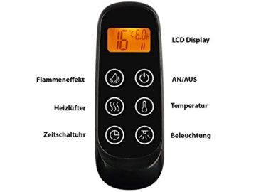 RICHEN Elektrokamin Baldur - Elektrischer Standkamin Mit Heizung, LED-Beleuchtung, 3D-Flammeneffekt & Fernbedienung - Weiß - 6