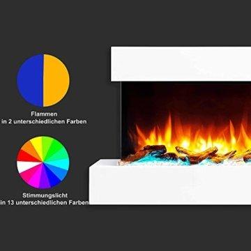 RICHEN Elektrokamin Ignis - Elektrischer Wandkamin Mit Heizung, LED-Beleuchtung, 3D-Flammeneffekt & Fernbedienung - Weiß - 3