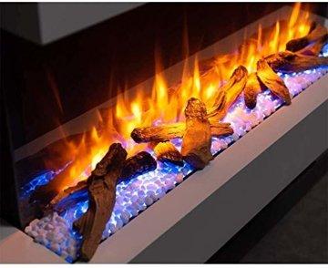 RICHEN Elektrokamin Ignis - Elektrischer Wandkamin Mit Heizung, LED-Beleuchtung, 3D-Flammeneffekt & Fernbedienung - Weiß - 4