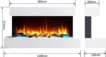 RICHEN Elektrokamin Ignis - Elektrischer Wandkamin Mit Heizung, LED-Beleuchtung, 3D-Flammeneffekt & Fernbedienung - Weiß - 6