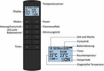 RICHEN Elektrokamin Ignis - Elektrischer Wandkamin Mit Heizung, LED-Beleuchtung, 3D-Flammeneffekt & Fernbedienung - Weiß - 8