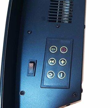Wandkamin Elektrischer Kamin, E-Kamin, Kaminofen Heizung, Heizgerät, Flammensimulation, LED, geräuscharm, 900W oder 1850W Leistung, Fernbedienung, Timer Wandmontage horizontal, schwarz - 6