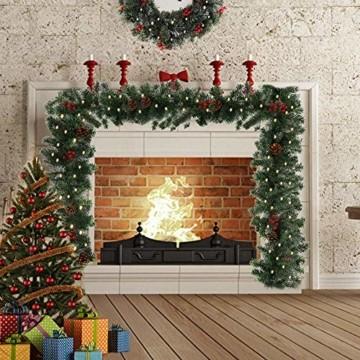 1.8M Tannengirlande Künstlich LED Grüne Weihnachtsgirlande Deko 30LED Weihnachtsgirlande mit Beleuchtung Hängende Girlande Deko für Kamin Treppentür Weihnachten Kamine Treppen Türen Baum Garten Dekor - 3