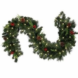 1.8M Tannengirlande Künstlich LED Grüne Weihnachtsgirlande Deko 30LED Weihnachtsgirlande mit Beleuchtung Hängende Girlande Deko für Kamin Treppentür Weihnachten Kamine Treppen Türen Baum Garten Dekor - 1