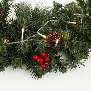 1.8M Tannengirlande Künstlich LED Grüne Weihnachtsgirlande Deko 30LED Weihnachtsgirlande mit Beleuchtung Hängende Girlande Deko für Kamin Treppentür Weihnachten Kamine Treppen Türen Baum Garten Dekor - 4