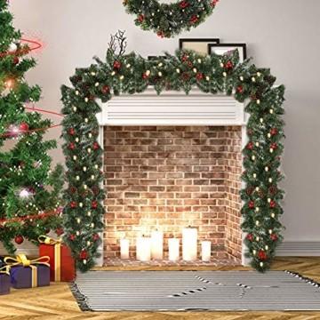 1.8M Tannengirlande Künstlich LED Grüne Weihnachtsgirlande Deko 30LED Weihnachtsgirlande mit Beleuchtung Hängende Girlande Deko für Kamin Treppentür Weihnachten Kamine Treppen Türen Baum Garten Dekor - 6
