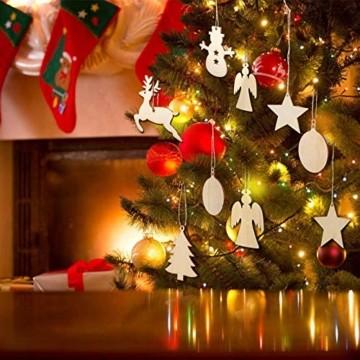 100 Stück Kleine Anhänger Holz Weihnachten,Anhänger Dekoration Holz,Weihnachtsbaum Deko Holz,weihnachtsdeko basteln,Holz Weihnachtsdeko Anhänger,Ornamenten für Weihnachtsbaum(100-2 pcs) - 3