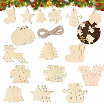 100 Stück Kleine Anhänger Holz Weihnachten,Anhänger Dekoration Holz,Weihnachtsbaum Deko Holz,weihnachtsdeko basteln,Holz Weihnachtsdeko Anhänger,Ornamenten für Weihnachtsbaum(100-2 pcs) - 1